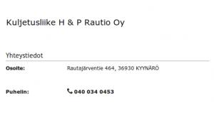 Kuljetusliike H & P Rautio