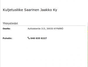 Kuljetusliike J Saarinen